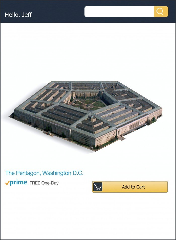 Photo illustration of Amazon purchase interface with an Add to Cart button below an image of the pentagon and