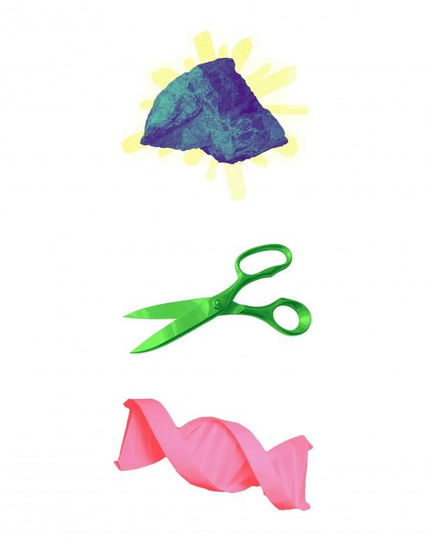 A conceptual illustration of anticrispr. The rock in rock paper scissors