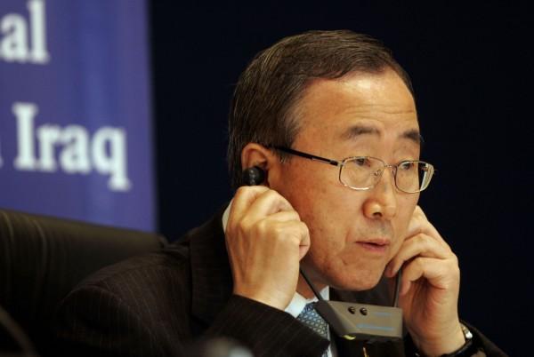 An image of U.N. Secretary-General Ban Ki-moon listening to a translation device