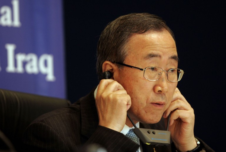 An image of U.N. Secretary-General Ban Ki-moon listening to a translation device