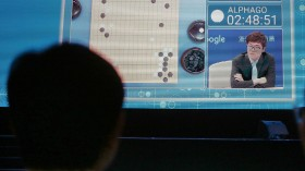 Go player Ke Jie plays a match against Google's artificial intelligence program, AlphaGo