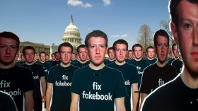 Zuckerberg cutouts on Capitol Hill