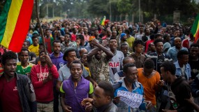 Photograph of thousands of protestors from the capital and those displaced by ethnic-based violence over the weekend in Burayu, demonstrate to demand justice from the government in Addis Ababa, Ethiopia Monday, Sept. 17, 2018.