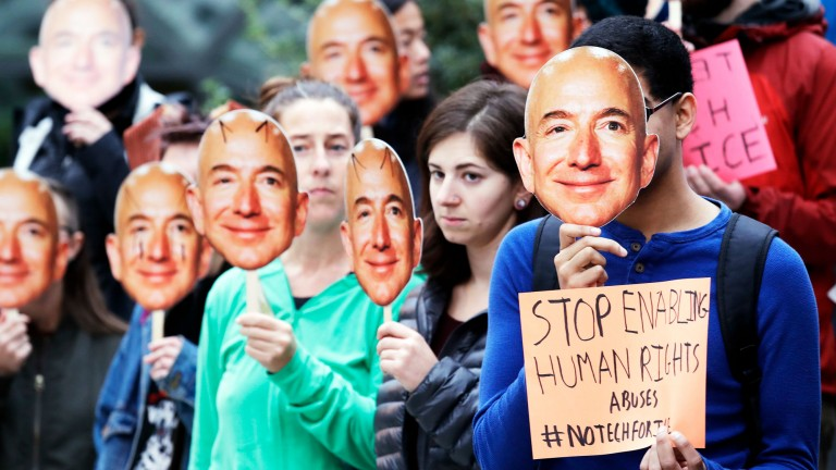 Protests over Amazon's face recognition technology, held in October.