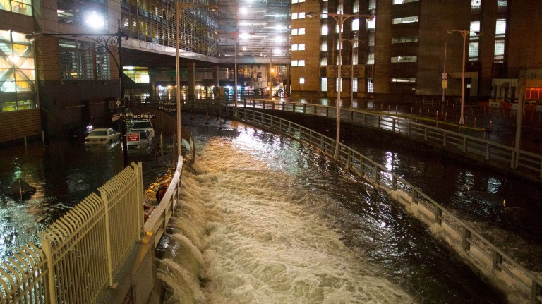 seawater floods the entrance to the Brooklyn Battery Tunnel during Superstorm Sandy in New York