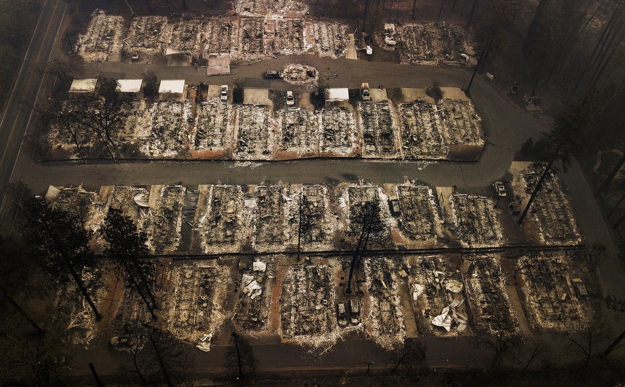 An aerial file photo showing destroyed residences in Paradise, California