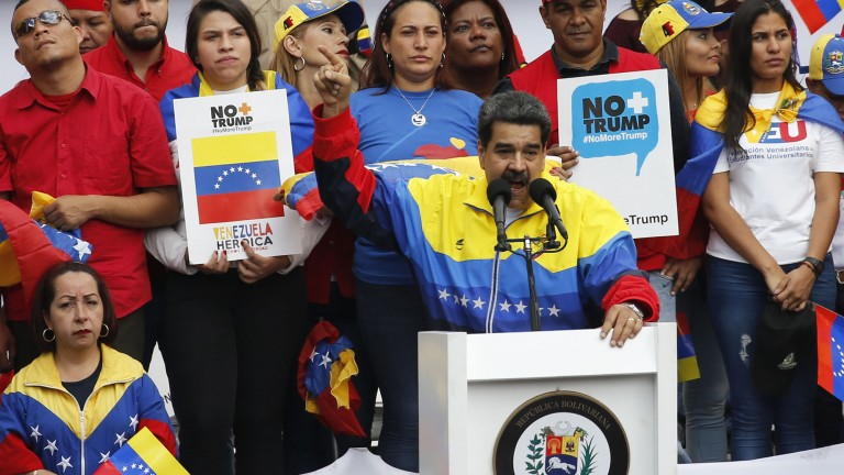 Venezuelan president Nicolas Maduro addresses a crowd at a rally condemning US sanctions.