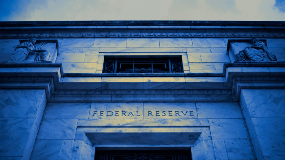 The front of the US Federal Reserve building in Washington, DC
