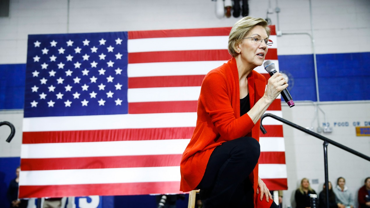 Democratic presidential candidate Sen. Elizabeth Warren at a campaign event in Concord, New Hampshire.
