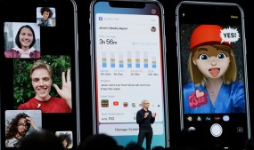 Apple CEO Tim Cook presents the company's screen time app on stage