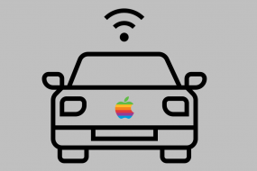 Drawing of a self-driving car with an apple logo on the grill