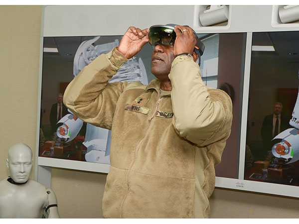 A member of the US Army trying out an augmented reality headset