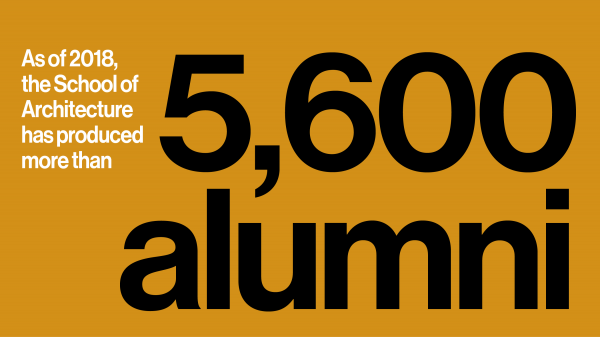 Text reads - As of 2018, the School of Architecture has produced more than 5,600 alumni