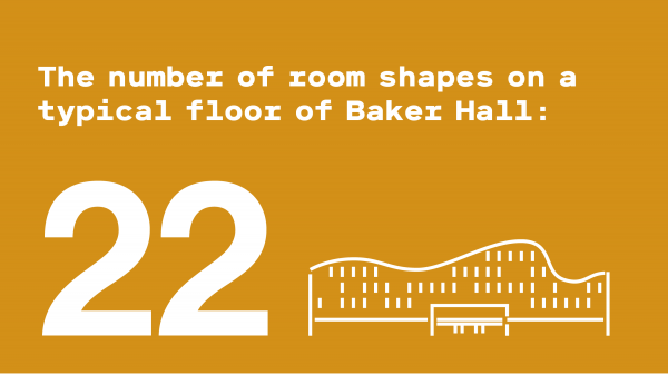 Illustration of Baker Hall. Text reads: The number of room shapes on a typical floor of Baker Hall: 22.