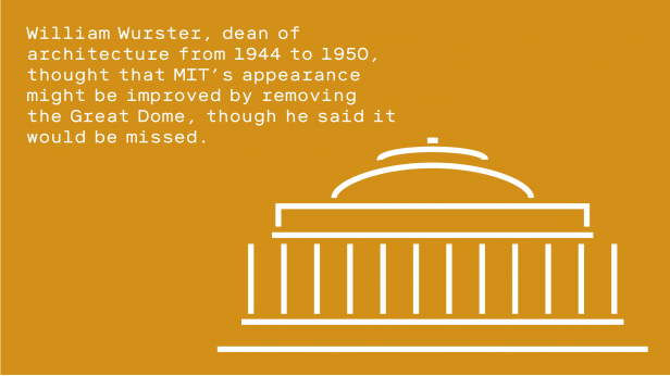 Illustration of MIT's Great Dome. Text reads - William Wurster, dean of architecture from 1944 to 1950, thought that MIT's appearance might be improved by removing the Great Dome, though he said it would be missed.