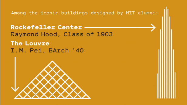 Illustrations of The Louvre and Rockefeller Center. Text reads - Among the iconic buildings designed by MIT alumni: Rockefeller Center Raymond Hood, Class of 1903; The Louvre I.M. Pei, BArch '40