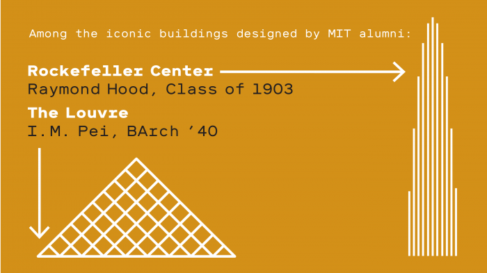 Illustrations of The Louvre and Rockefeller Center. Text reads - Among the iconic buildings designed by MIT alumni: Rockefeller Center Raymond Hood, Class of 1903; The Louvre I. M. Pei, BArch '40