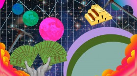 An illustration showing US hundred dollar bills, gold, and space