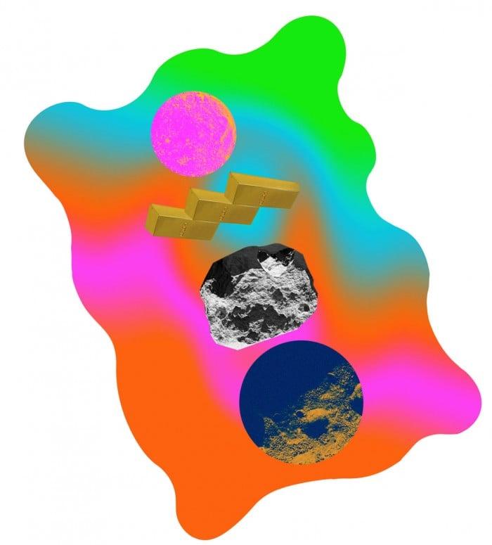 A conceptual illustation of asteroids