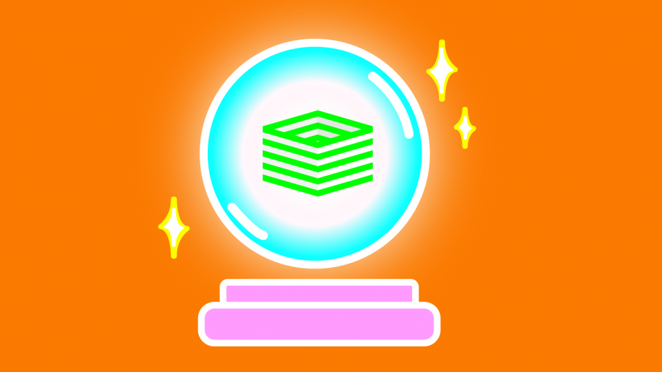 Illustration of striped cube inside of a crystal ball.
