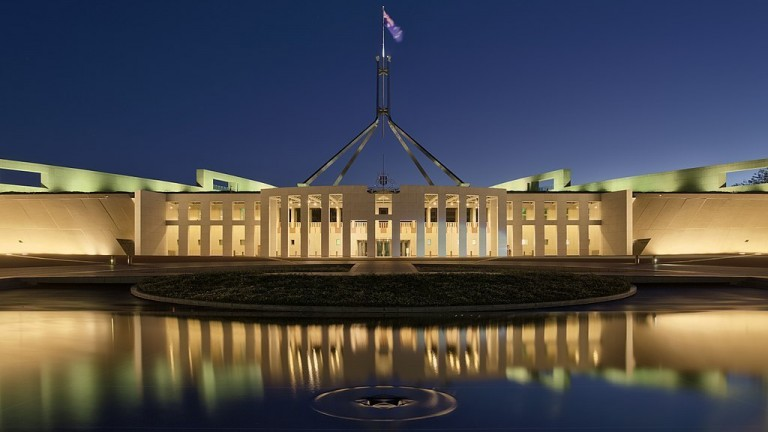 A photo of Australia's parliament building in Canberra at night