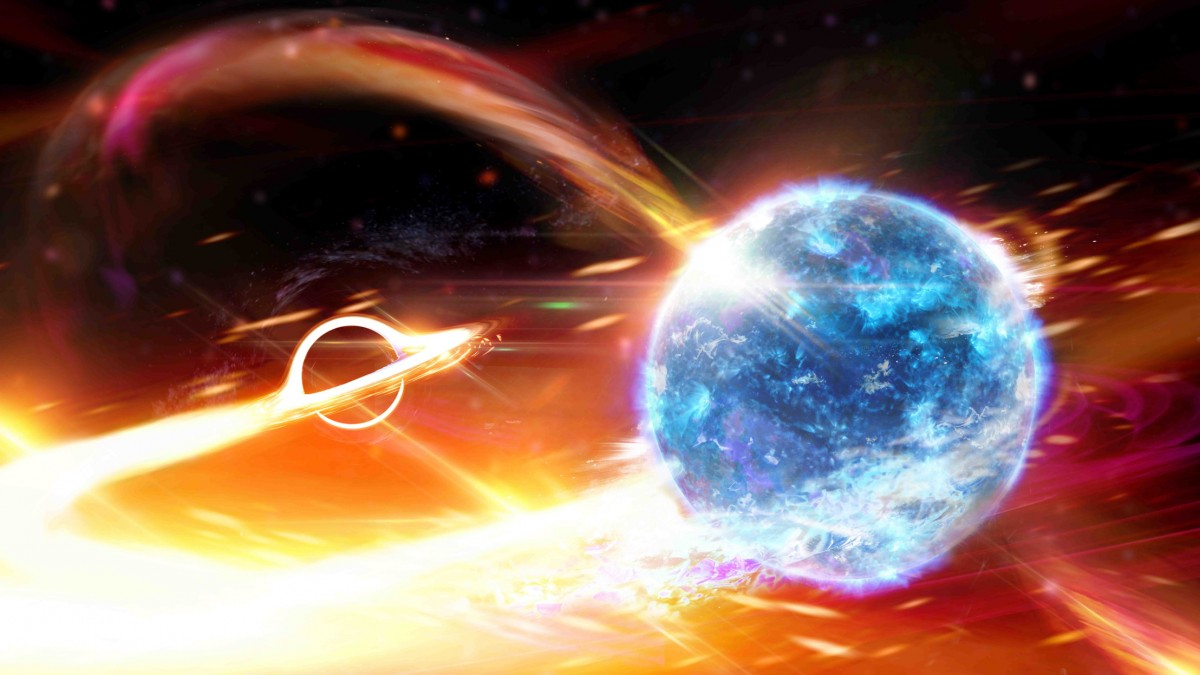 Astronomers might have spotted a black hole gobbling up a neutron star
