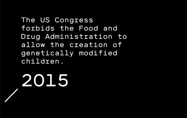 "Timeline entry 2015: Science leaders from China, the UK, and the US warn it would be ""irresponsible"" to create a child from edited embryos. The US Congress forbids the Food and Drug Administration to allow the creation of genetically modified children."