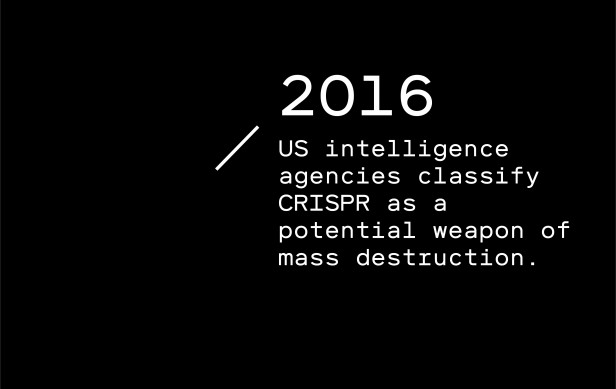 Timeline entry 2016: US intelligence agencies classify CRISPR as a potential weapon of mass destruction.