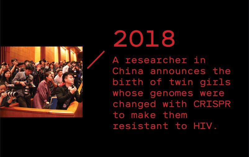 Timeline entry 2018: A researcher in China announces the birth of twin girls whose genomes were altered with CRISPR to make them resist HIV.