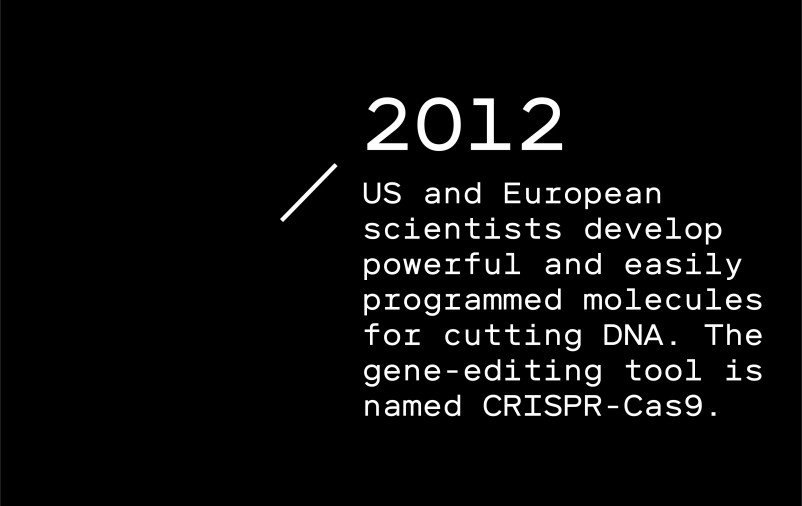 Timeline entry 2012 - US and European scientists develop powerful and easily programmed molecules for cutting DNA. The gene-editing tool is named CRISPR-Cas9.