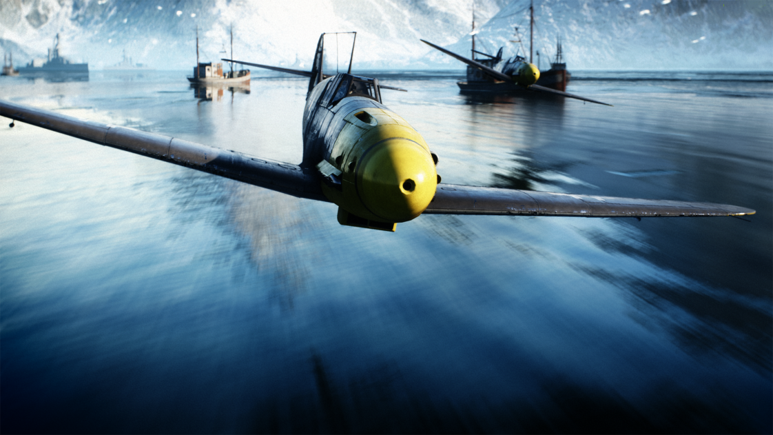 A virtual plane from the Battlefield V game