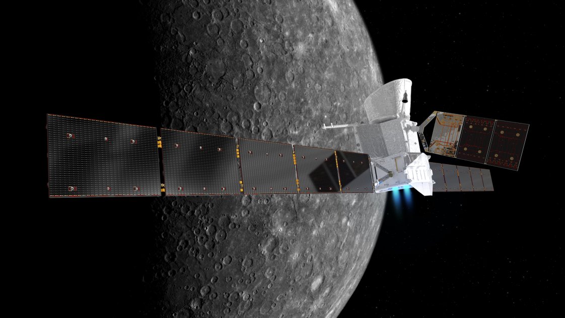 Image of the BepiColombo spacecraft at Mercury.