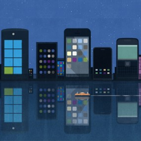 illustration of multiple cell phones