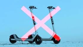 An image of bird scooters overlaid with a red X