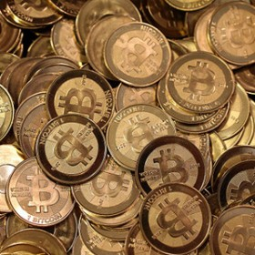 pile of bitcoins turned to metal