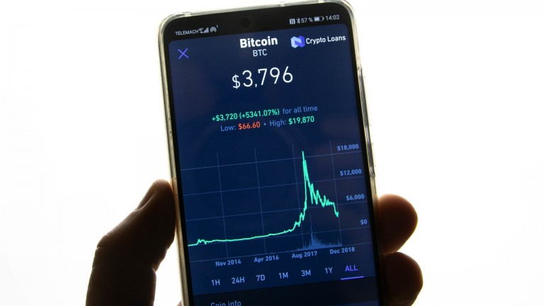 A mobile phone showing the price of Bitcoin and a graph of its fluctuation over time.