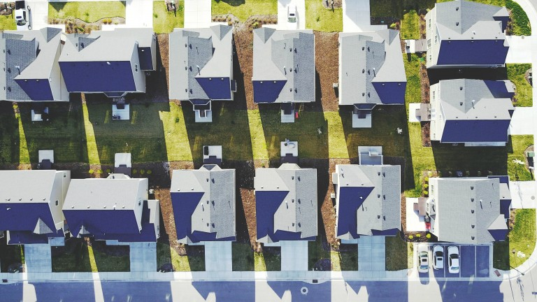 View of a block of houses from above