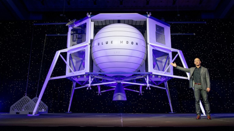 Jeff Bezos showing off the Blue Moon design.
