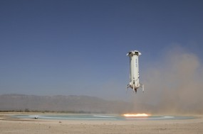 A Blue Origin New Shepard rocket taking off