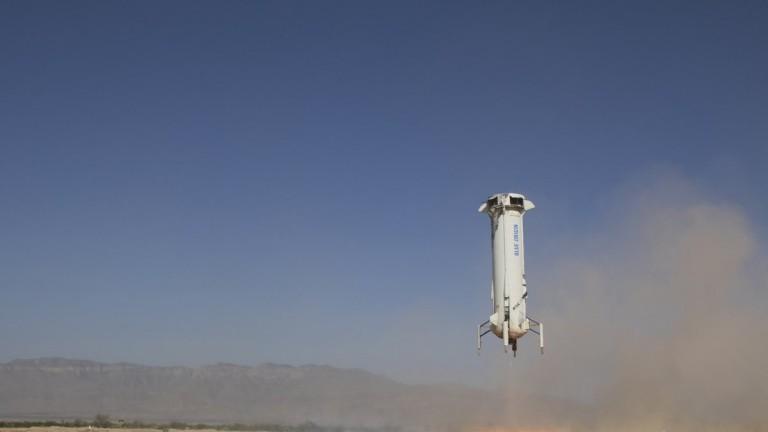 A Blue Origin New Shepard rocket taking off
