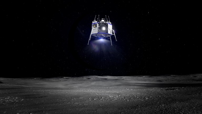 700ded1f1 Jeff Bezos has unveiled Blue Origin's lunar lander · Render of Blue Moon  landing