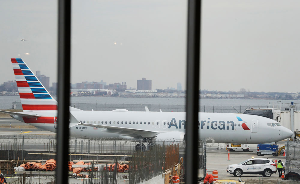 A Boeing 737 Max sits grounded at LaGuardia Airport in New York