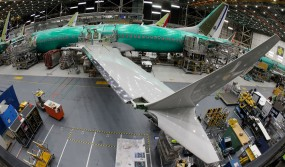A Boeing 737 Max 8 airplane sits on the assembly line