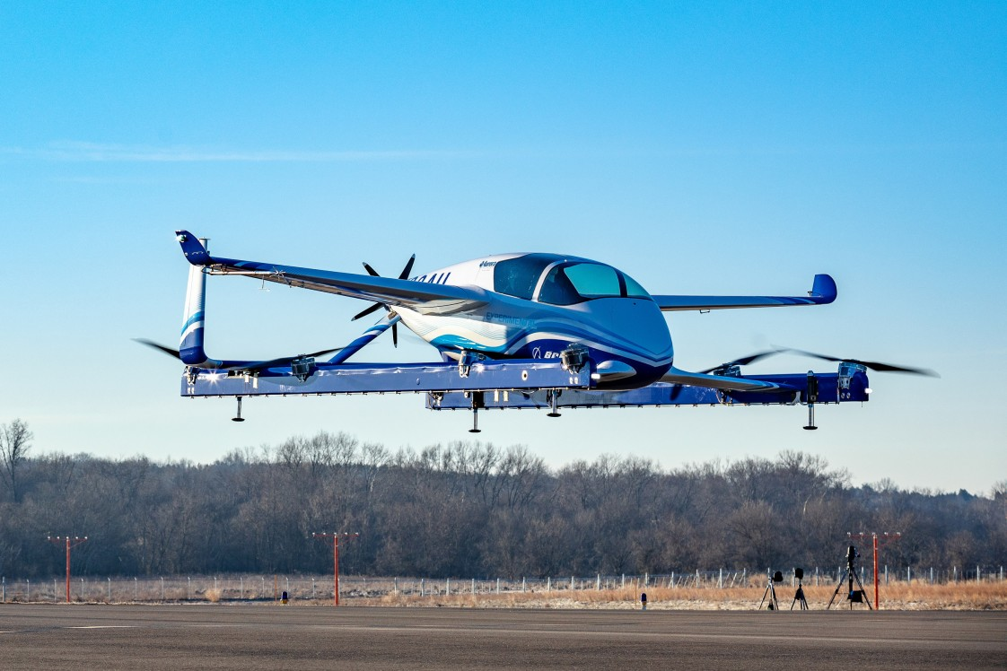 Boeing's experimental autonomous passenger air vehicle on an airstrip