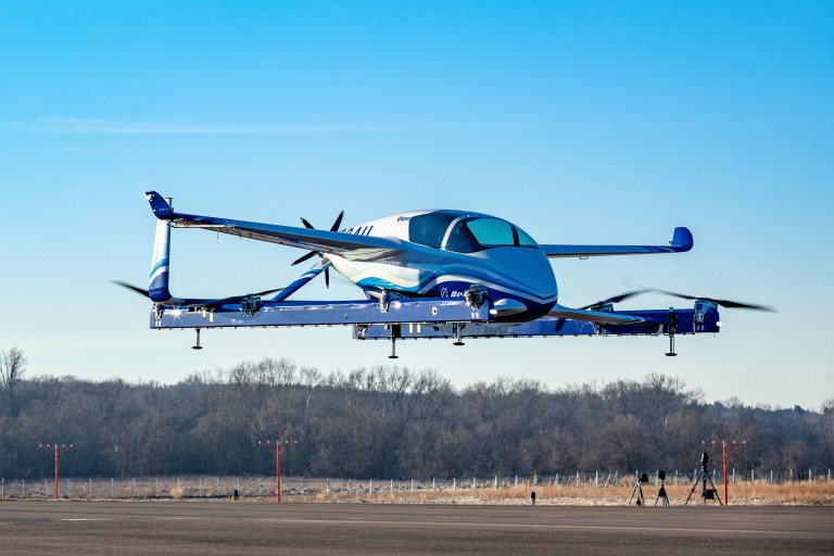Boeing's experimental autonomous passenger air vehicle on an airstrip
