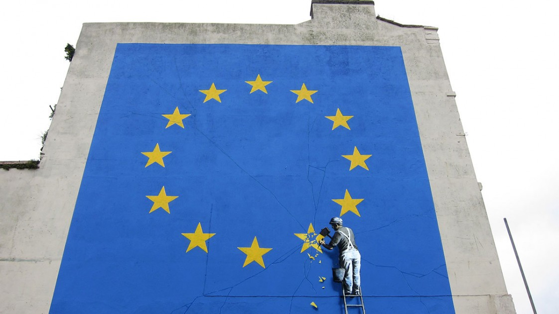 An EU flag created by Banksy