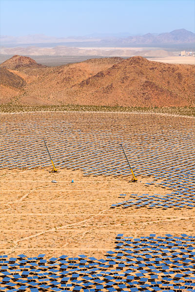 Heliostat installation near Unit 2 at the Ivanpah Solar Project