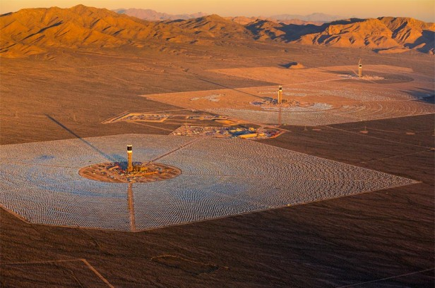 Aerial view of Unit 1, 2 and 3 at the Ivanpah Solar Project