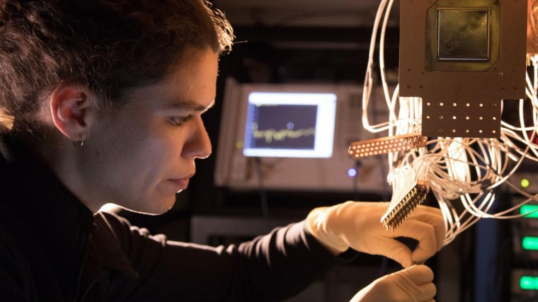 An engineer tinkers with a Bristlecone quantum chip