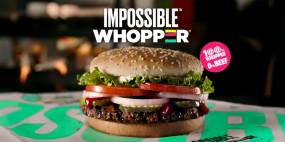 A photo of Burger King's meat free Impossible Whopper